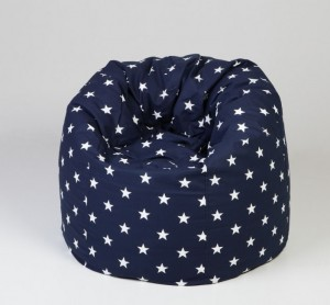 sittsäck till barn blå med vita stjärnor