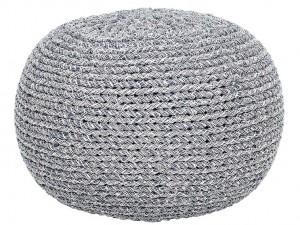 stickad rund sittpuff grå